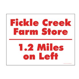 Fickle Creek 1.2 Miles sign image