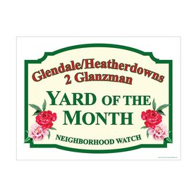 Glendale Yard of the Month sign image