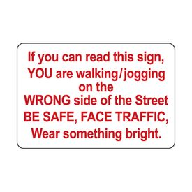 Jogging Wrong Side aluminum sign image
