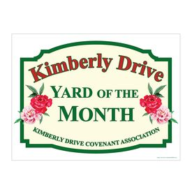 Kimberly Drive Yard of the Month sign image