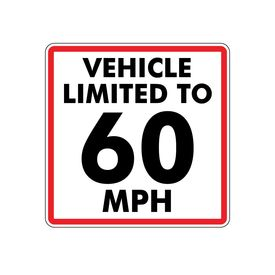 This vehicle limited to 60mph magnet image 10x10