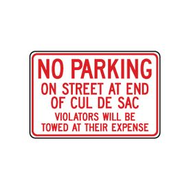 No Parking On Street Cul De Sac 12x18 sign image