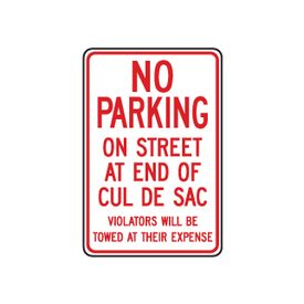 No Parking On Street Cul De Sac sign image