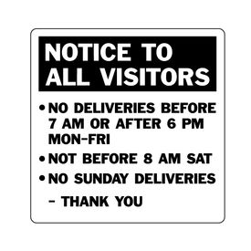 Notice To All Visitors 24x24 v2 sign image