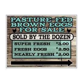 Pasture-Fed Brown Eggs Wood Grain Rt Arw sign image
