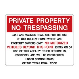 Private Property No Trespassing Section 30.05 TPC Sign image