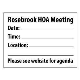 Rosebrook HOA Meeting sign image