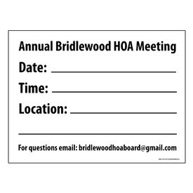Annual Bridlewood HOA Meeting sign image