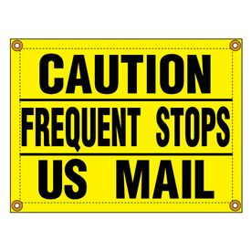 "Banner ""CAUTION FREQUENT STOPS"" sign image"