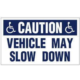 Caution Vehicle May Slow Down HC Decal Image