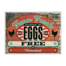 "Farm Fresh Eggs Free Homestead Wood Grain 18"" x 24"" sign image"