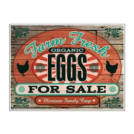 "Farm Fresh Organic Eggs Wood Grain MFC 18"" x 24"" sign image"