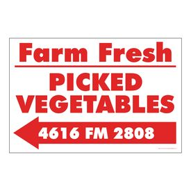 Farm Fresh Picked Vegetables Left Arrow Sign