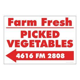 Farm Fresh Picked Vegetables Left Arrow Sign