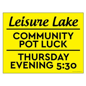 Leisure Lake Community Pot Luck yellow sign image