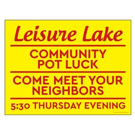 Leisure Lake Community Pot Luck Meet Neighbors yard sign image