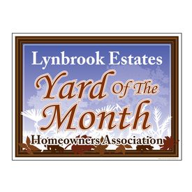 Lynbrook Estates Leaves Yard of the Month Sign Image