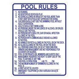 Pool Rules Blue and White Sign