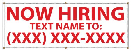Now Hiring text name banner image