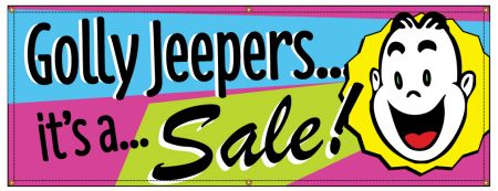 Golly Jeepers Its A Sale Retro banner image