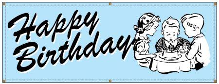 Happy Birthday Pale Blue Retro banner image