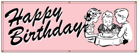 Happy Birthday Pink Retro banner image