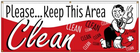Keep This Area Clean Retro banner image