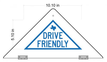 Drive Friendly decal on back of sign