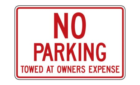 No Parking Towed 12x18 sign image