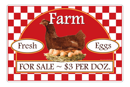 Farm Fresh Eggs $3 Per Dozen aluminum sign image