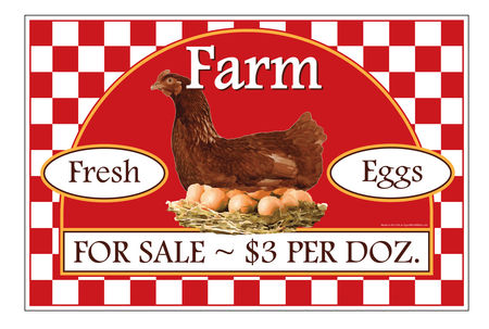 Farm Fresh Eggs $3 Per Dozen sign image