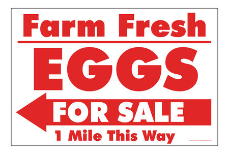 Farm Fresh Eggs R&W Left arrow sign image
