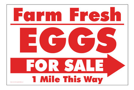 Farm Fresh Eggs R&W Right arrow sign image