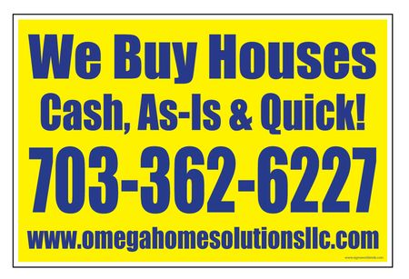 Omega We Buy Houses sign image