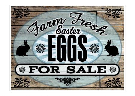 Farm Fresh Easter Eggs Wood Grain sign image