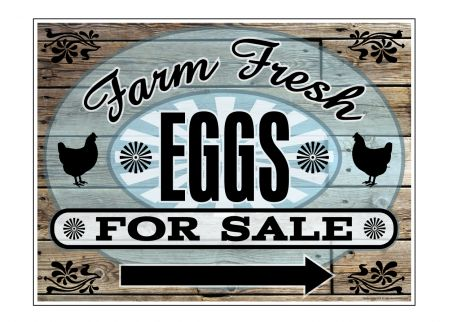 Farm Fresh EggsWood Grain Rt Arw sign image