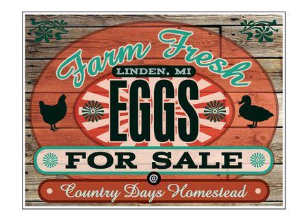"Farm Fresh Eggs Country Days Wood Grain 18"" x 24"" sign image"