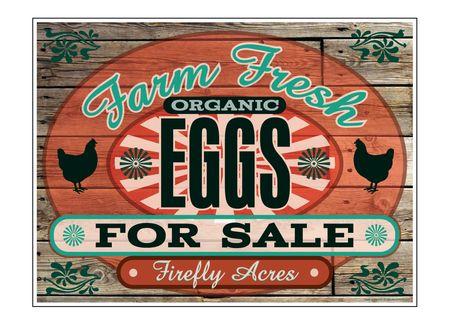 "Farm Fresh Organic Eggs Wood Grain 18"" x 24"" sign image"