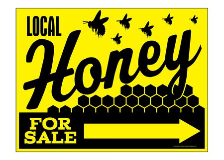 Local Honey For Sale Right Directional sign image