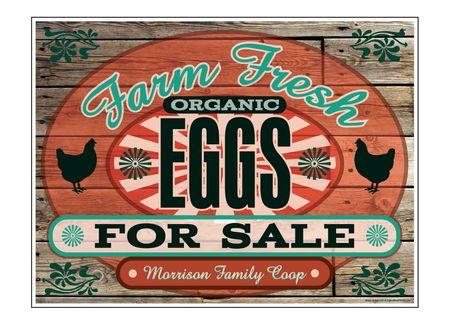"Farm Fresh Organic Eggs Wood Grain MFC 18"" x 24"" sign image"