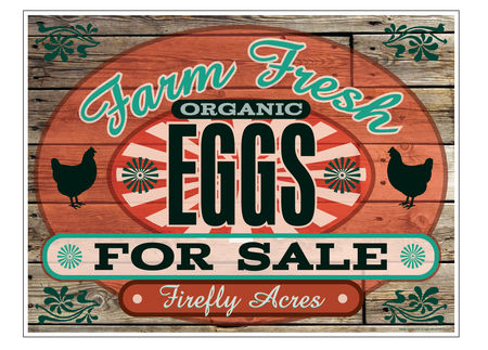 Farm Fresh Organic Eggs Wood Grain 36x48 sign image