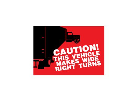 Caution wide right turns decal image