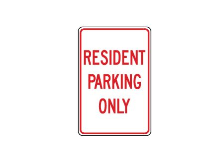 Resident Parking Only sign image