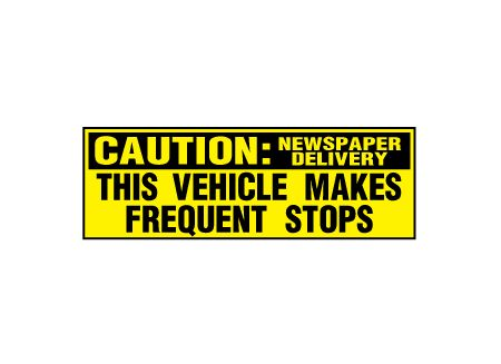 Caution Frequent Stops News Delivery decal image