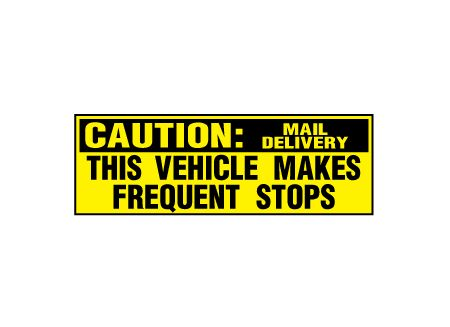 Caution Frequent Stops Mail Delivery decal image