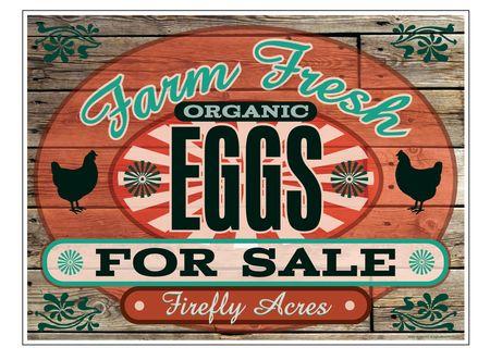 Farm Fresh Organic Eggs Wood Grain 24x32 sign image