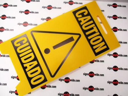 Caution Cuidado A frame sign image 2
