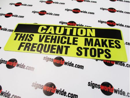 Caution frequent stops non-reflective sign image