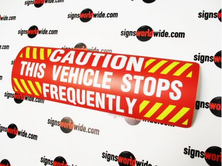 Caution Frequent Stops red and yellow sign image