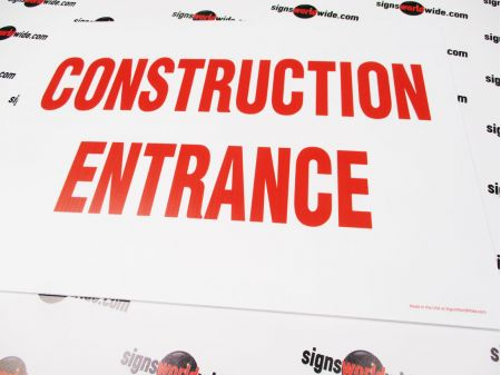 Construction Entrance Coro sign